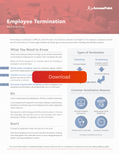 One Pager: Employee Termination Best Practices